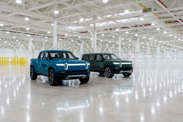 Rivian's first production R1T electric pickup truck rolls off the line